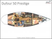 Dufour 50 Prestige - Plan d'aménagement