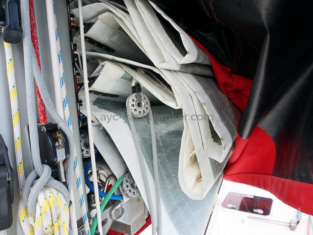 OVNI 395 - Grand-voile Trilam et prises de ris automatiques à pouliage Karver